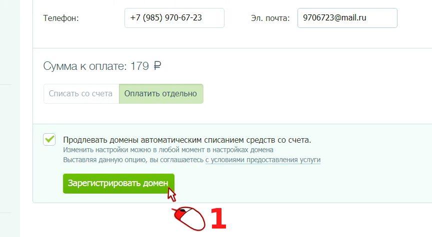 Анкета для регистрации домена