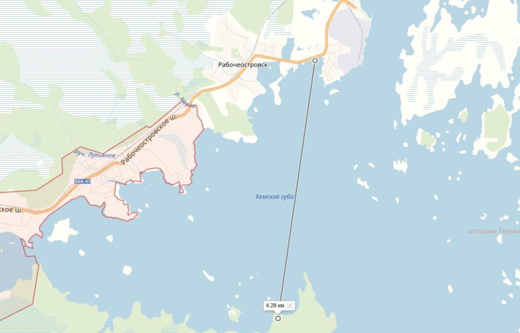 Место на карте, где виден горизонт